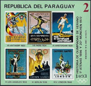 1972 Paraguay History of the Olympic Games, Paris, Sheet VF/MNH! CAT 23$