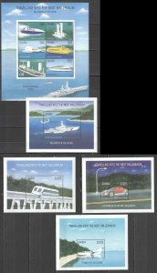 QF1524 GAMBIA TRANSPORT TRAVELLING INTO THE NEXT MILLENNIUM !!! 4BL+1KB MNH