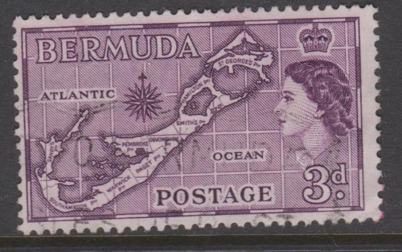 Bermuda 1953 3d Map of Bermuda Sc#148 Used