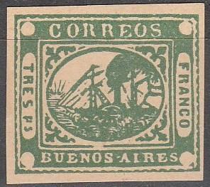 Argentina Buenos Aires #3 CV  $1500.00 Reprint  (SU3917)