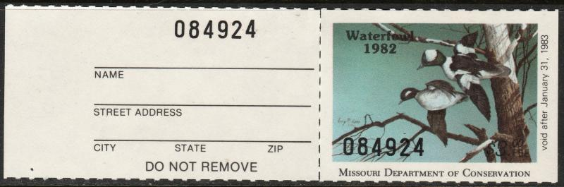 U.S.-MISSOURI 4a, STATE DUCK HUNTING PERMIT STAMP WITH TAB. MINT, NH. VF