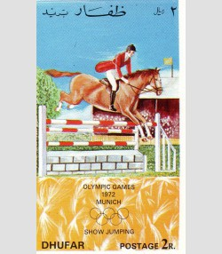 DHUFAR 1972 Munich Olympics Jumping in Equestrian s/s Imperforated (NH)VF