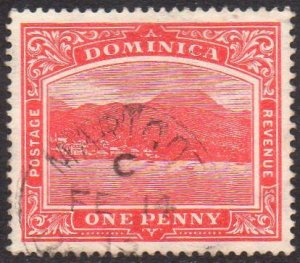 Dominica 1908 1d carmine-red used