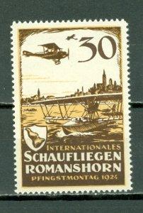 SWITZERLAND SCARCE 1924 AIR  VIGNETTE ..ROMANS-HORN-ZURICH FLIGHT...MNH