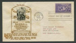#855 ON FDC BASEBALL BY CROSBY JUNE 12, 1939 COOPERSTOWN, NY BU9069 AM