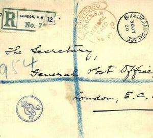 GB ROYALTY Buckingham Palace Registered Mail GvR Cypher 1920 R220