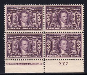 US #325 XF/NH Plate block of 4,