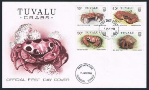 Tuvalu 348-351,FDC.Michel 350-353. Crab 1986.Stalk-eyed ghost,Hermit,Shell.