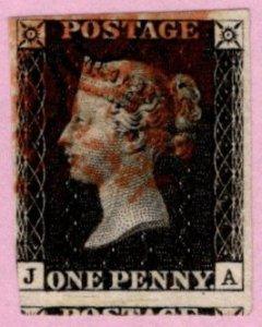 GBR SC #1 U (J,A) 1840 Queen Victoria 2+ margins w/red cancel CV $320.00