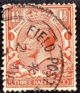SG 362 1912 1½d red-brown with Field Post Office Cancellation