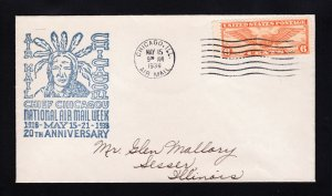 US COVER SCOTT #C19 CHICAGO IL NATIONAL AIR MAIL WEEK ⭐ CHIEF CHICAGOU ⭐ 1938