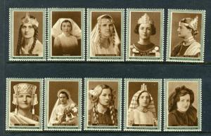 1933/36 SOUVENIR OF BEAUTY THE IRISH HOSPITALS SWEEPSTAKES 10 Poster Stamps L184