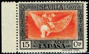 SPAIN STAMP GOYA AIR 15C MAIL MUESTRA Specimen ovpt MH/OG STAMP