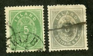 ICELAND SCOTT# 24-25 FINELY USED AS SHOWN CATALOGUE VALUE $27.75