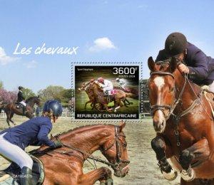 C A R - 2019 - Horses - Perf Souv Sheet - MNH
