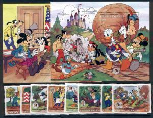 Caicos Islands 78-85 MNH Disney, Horse, Mark Twain, Donald Duck, Brothers Grim