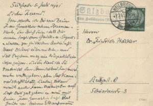 Germany 6pf Hindenburg Medallion 1941 Heilbronn, (Neckar) 1 PPC to Stuttgart ...