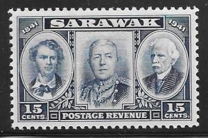 Sarawak 156: 15c Three Brooke Rajahs, MH, F-VF