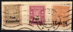 Norway #136-7, 149  F-VF Used  On Small Piece CV $8.00 (X286)