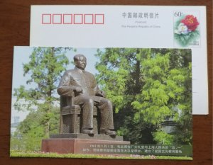 Sculpture of Chairman Mao,China 1999 shanghai steel plant pre-stamped card