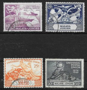 MALAYA JOHORE SG148/51 1949 U.P.U. SET USED