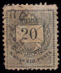 Hungary Scott #30a Var,20k Gray Used W/Numerals In Black - Wmk. KR in Oval VF