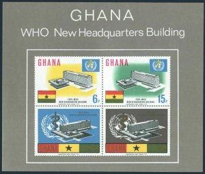 Ghana 250a sheet,mint glued on bottom.Michel Bl.20. New WHO Headquarters,1966.
