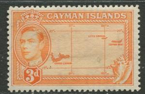 Cayman Islands - Scott 106 - KGVI Definitive -1938-43 - MH- Single 3d Stamp