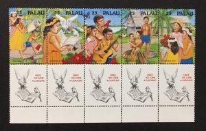 Palau 1990 #253a Strip of 5, Christmas, MNH.