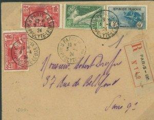 FRANCE Cover HIGH VALUES CHARITY *WAR ORPHANS* 5F SCARCE Paris Reg'd 1924 F50b