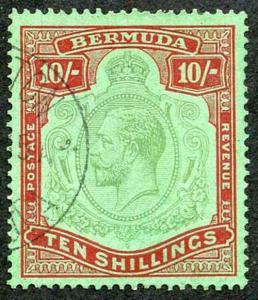 Bermuda SG92g KGV 10/- Key Plate Green and Red/Deep Emerald