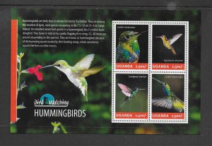 BIRDS - UGANDA #2119  HUMMINGBIRDS  MNH