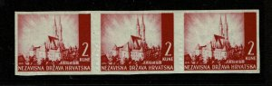 Croatia SC# 36 Partial Imperf Strip of 3 / Mint Hinged - S9616