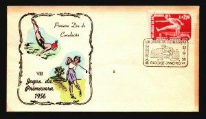 Brazil 1956 VIII Jogos FDC / Painted Cachet / UA - L3632