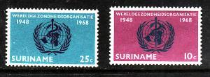 Suriname-Sc#352-3-unused NH set-WHO-1968-
