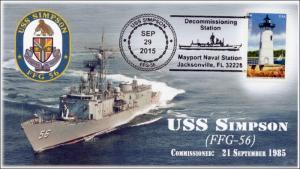 2015, USS Simpson, Pictorial Postmark, Decommissioning, FFG-56, 15-215
