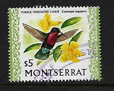 MONTSERRAT 342 USED, REVENUE CANCELLATION, PURPLE THROATED CARIB BIRD, CV $11.00