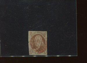 Scott 1 Franklin Imperf Used Stamp w/Boston & Albany RR Criss-Cross Cancel 1-204
