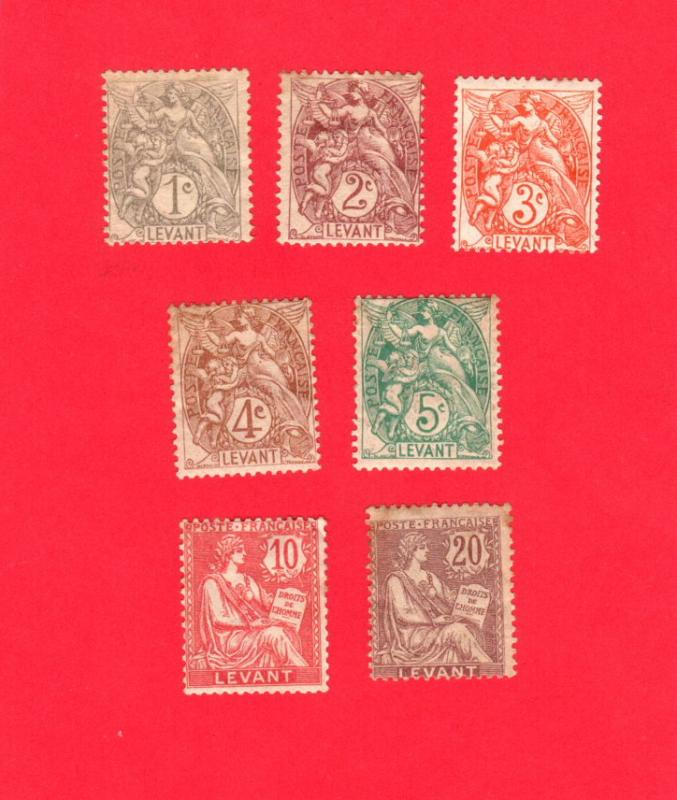 FRANCE OFFICES IN TURKEY 7 DIFFERENT MINT STAMPS SCOTT # 21 - 26 & 28