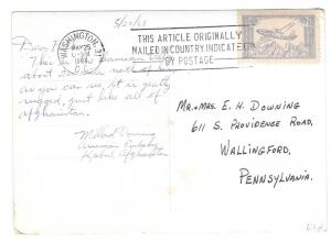 RPPC Afghanistan Diplomatic Pouch Mail Washington DC 1963