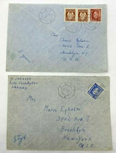 Feda Norway > Brooklyn NY 2 1950s airmail covers