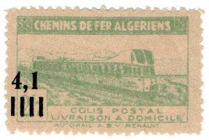 (I.B) France Colonial Railway : Algeria Chemins de Fer 4.1F on 2.7F (Inland)