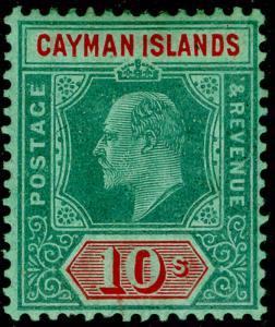 CAYMAN ISLANDS SG34, 10s green & red/green, VLH MINT. Cat £170.