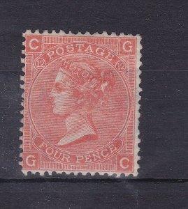 GB81) GB 1865 – 73,  4d Vermilion, plate 12 SG 94  Mint unhinged