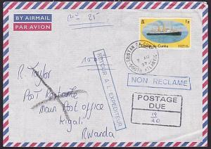 TRISTAN DA CUNHA 1997 Returned postage due cover to RWANDA..................6215