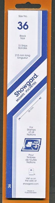 Showgard Stamp Mounts Size 36 / 215 BLACK Background Pack of 15