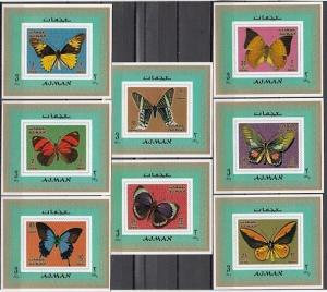 Ajman, Mi cat. 747-754 C. Butterfly values on Miniature s/sheets.