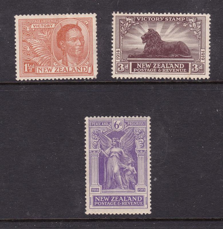 New Zealand x 3 MH from the 1920 Peace set