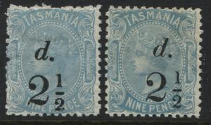 Tasmania 1891 2-2 1/2d surcharges mint o.g.