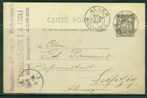 France H & G # 52, pse postal card, used in Algier, issued 1892
